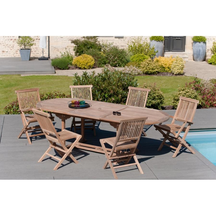 table de jardin 8 10 personnes ovale extensible 180 240 100 cms en bois teck