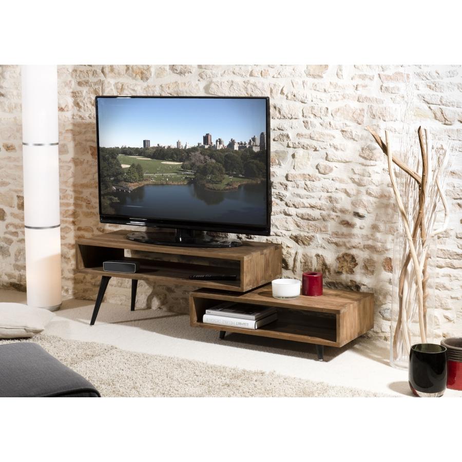 meuble tv bois rotatif scandi