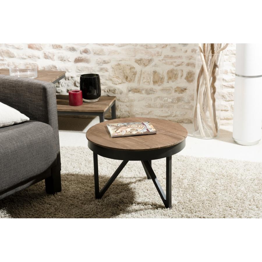 table basse ronde d appoint 50 x 50 cm bois et metal