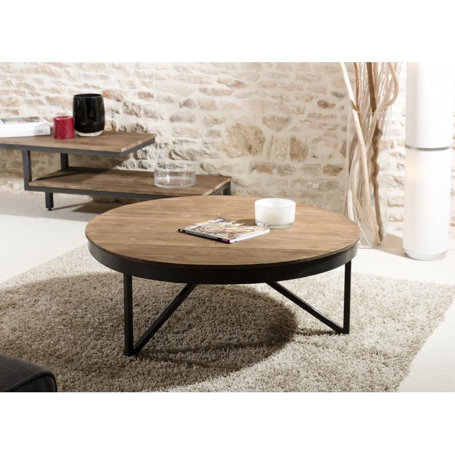 table basse ronde 90 x 90 cm bois et metal