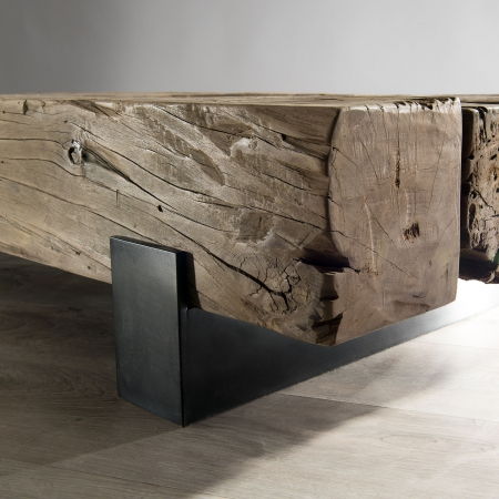 table basse traverse bois massif