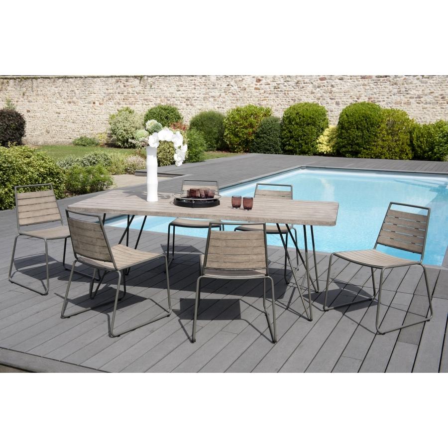salon de jardin en bois teck grise 6 8 pers ensemble de jardin 1 table rectangulaire 200 90 cm 6 chaises empilables bois e