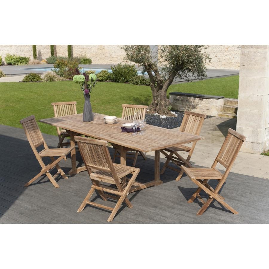 salon de jardin en bois teck 8 10 pers ensemble de jardin 1 table rectangulaire extensible 180 240 100 cm et 6 chaises
