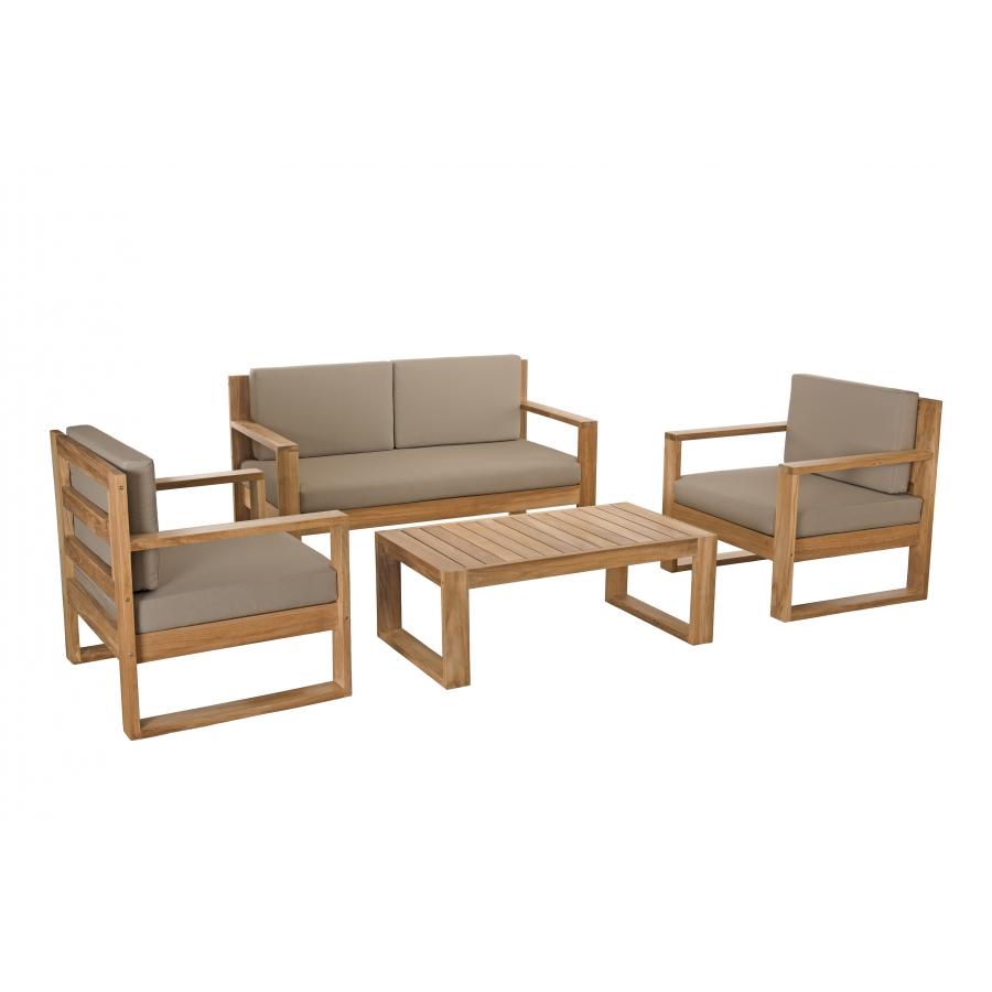 salon de jardin bois mexico ensemble de 3 fauteuils et 1 table basse
