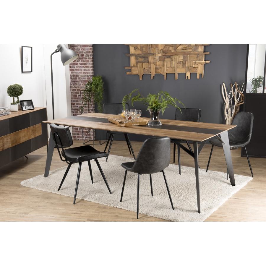 table a manger bois 220x100cm teck recycle metal et pieds metal