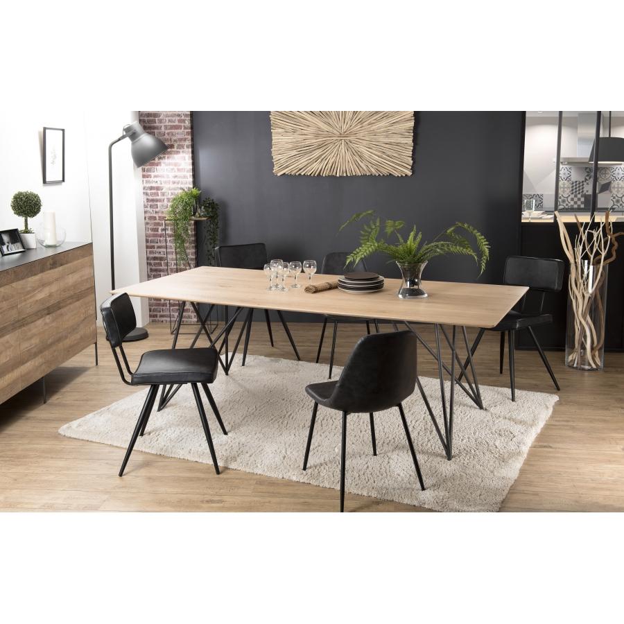 table a manger bois 220x100 chene pieds croises metal