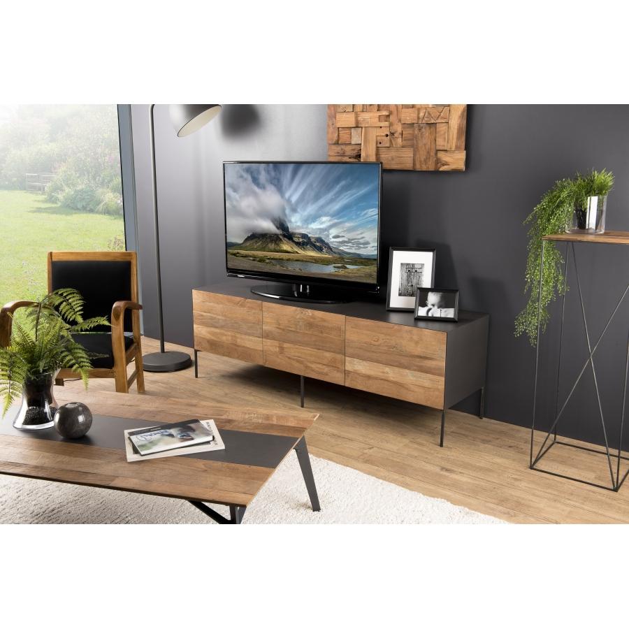 meuble tv bois 2 portes 1 tiroir teck recycle metal et pieds metal