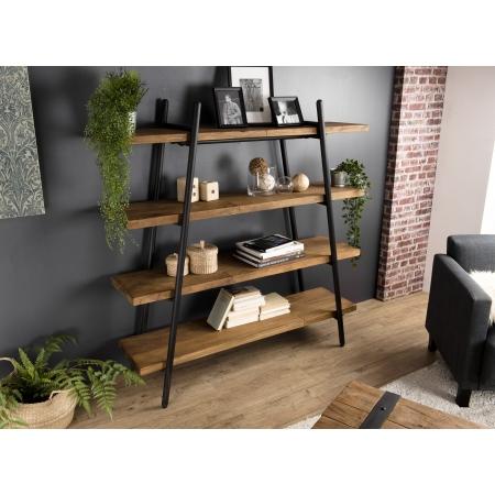 etagere bois pyramidale 4 niveaux teck recycle et metal