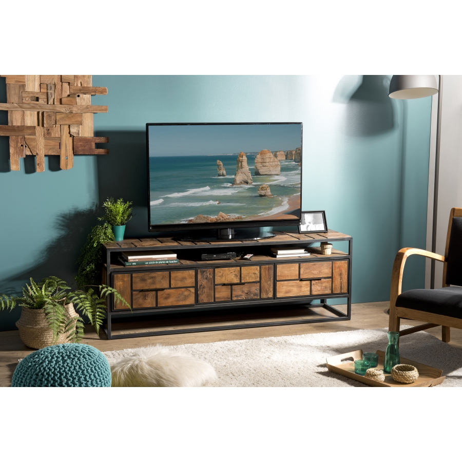 meuble tv bois 3 tiroirs 1 etagere teck recycle et metal