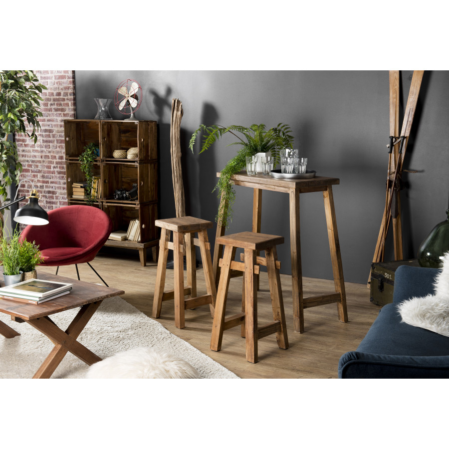 set de bar bois 1 table 90x40cm et 2 tabourets mahogagny belina esprit brocante