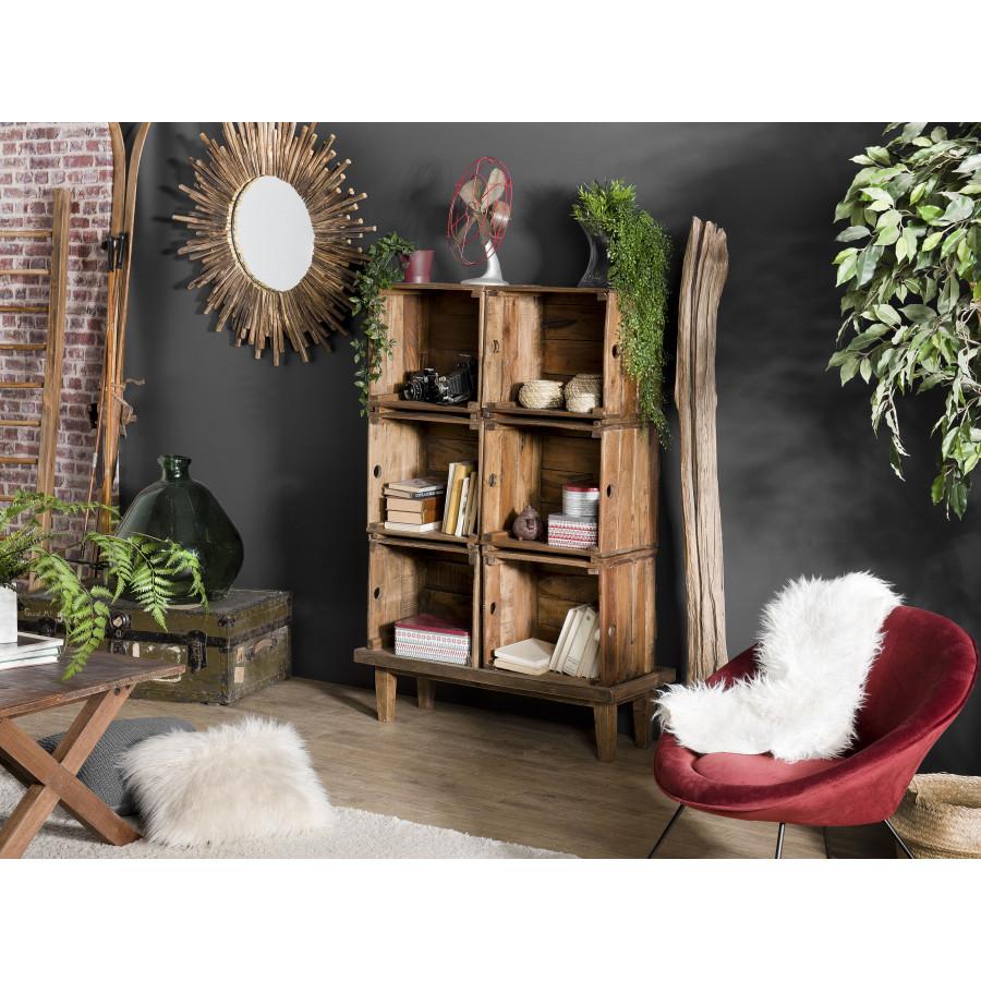 meuble de rangement 6 caisses bois mahogagny esprit brocante