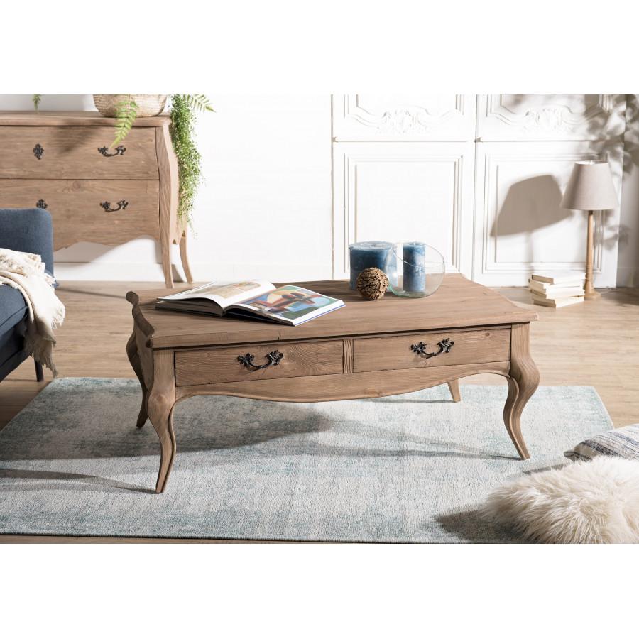table basse bois 2 tiroirs pin vieilli