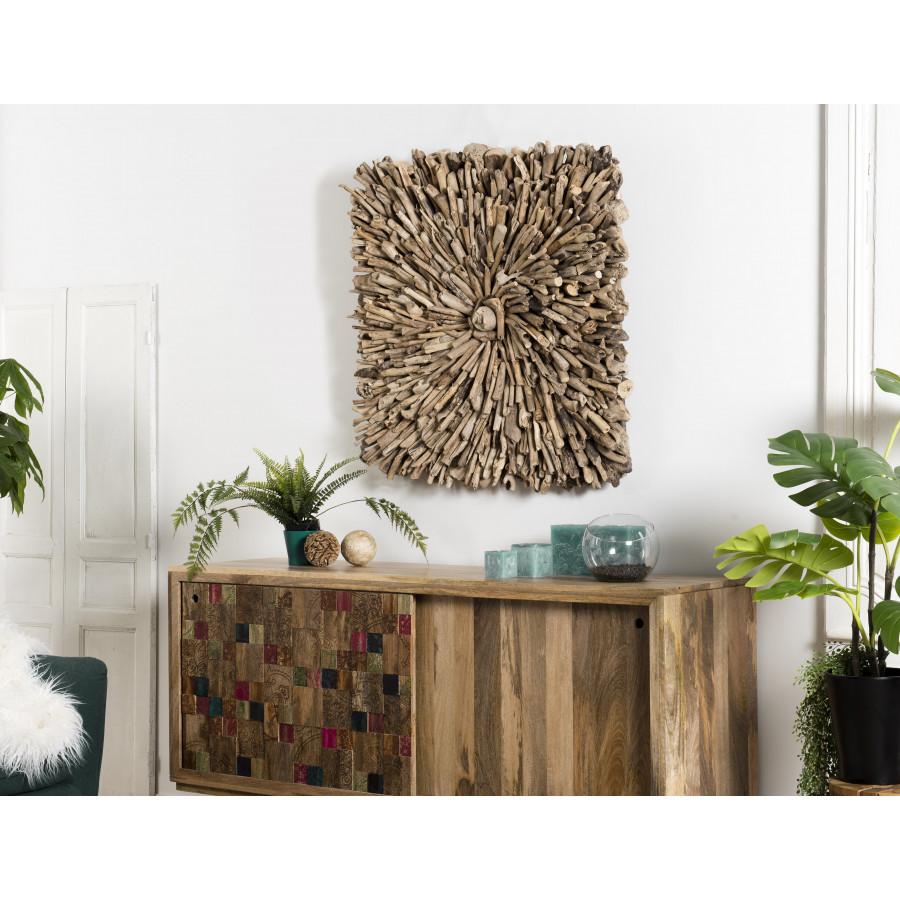decoration murale bois carree bois flotte