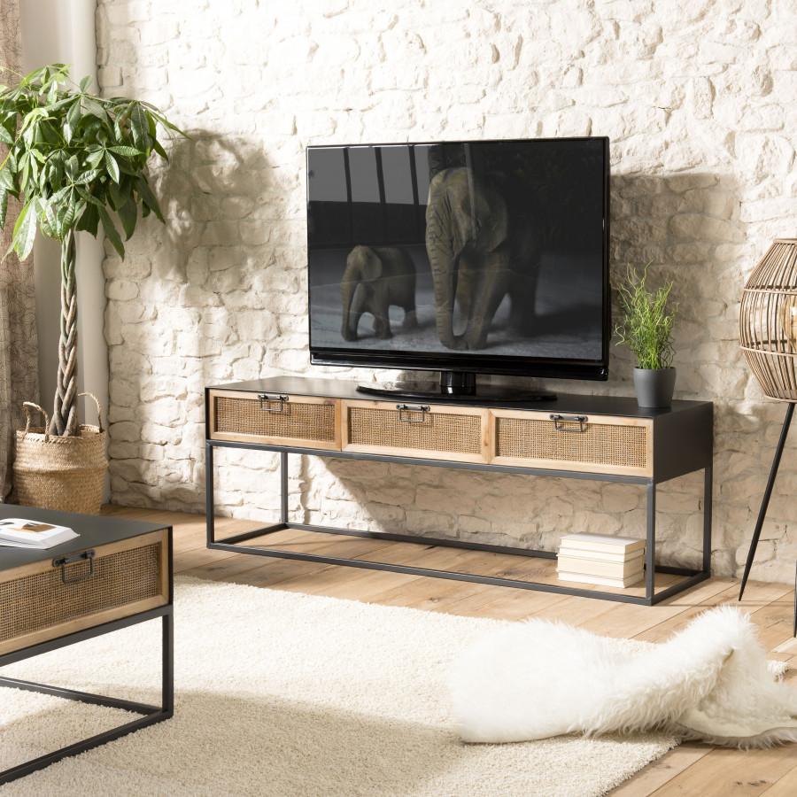 meuble tv metal 3 tiroirs cannage