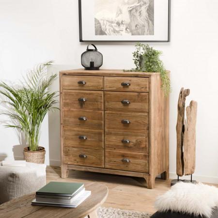 meuble 2 tiroirs 2 portes avec deco faux tiroirs bois pin recycle