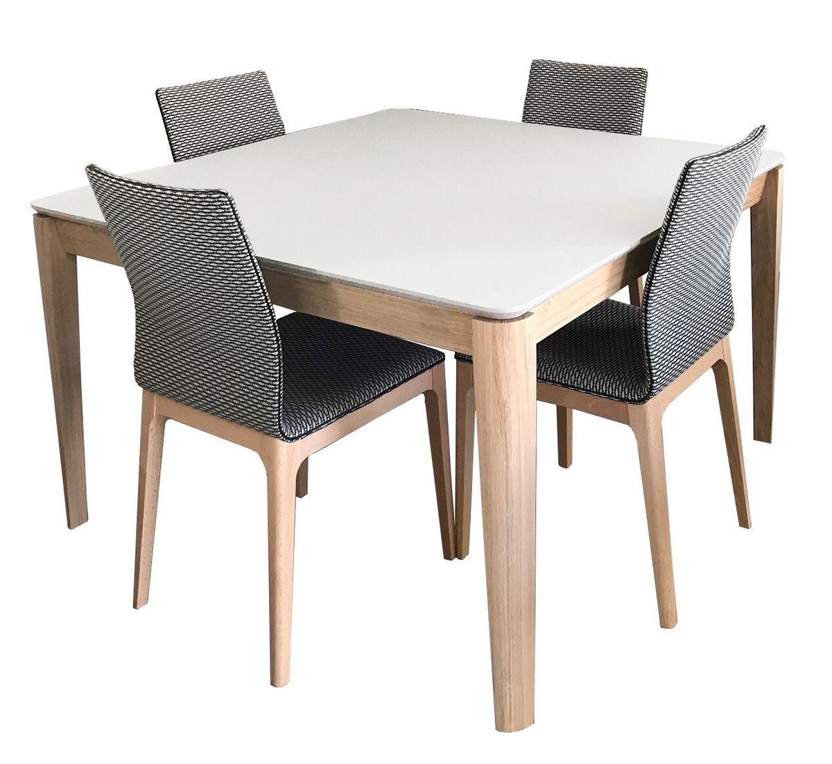 table carree fenix noir et chene blanchi