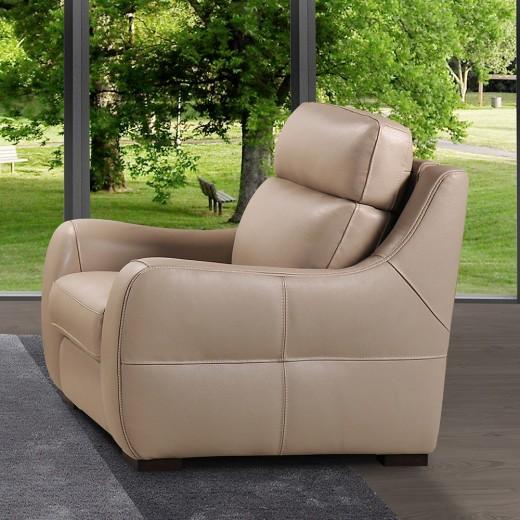 fauteuil cuir beige relax manuel iowa