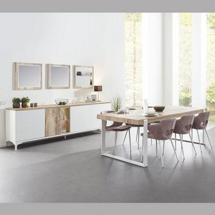 table de sejour loft en melamine chene et blanc verano