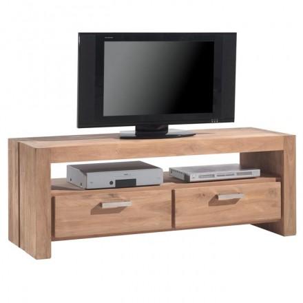 meuble tv 150cm 2 tiroirs borneo en teck