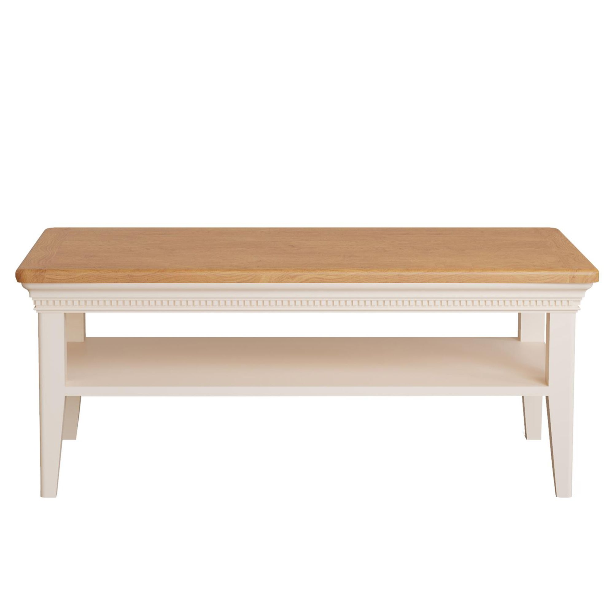 bellingham coffee table painted off white with oak top