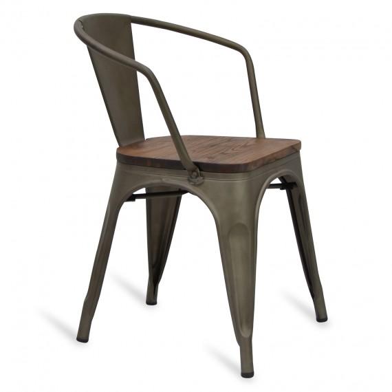 chaise bistro wood avec accoudoir