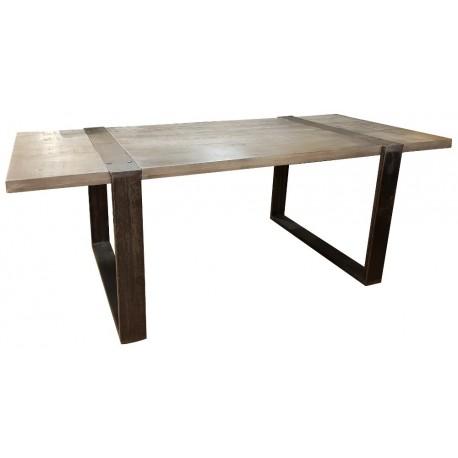table industrielle 2 00m manguier massif et metal phoenix