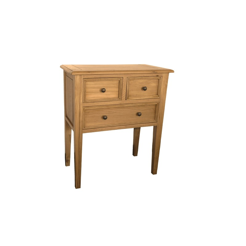 commode campagne 3 tiroirs finition chene clair semi antiquaire