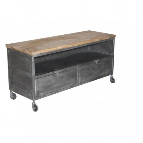 meuble tv metube petit modele finition industriel antique et acacia