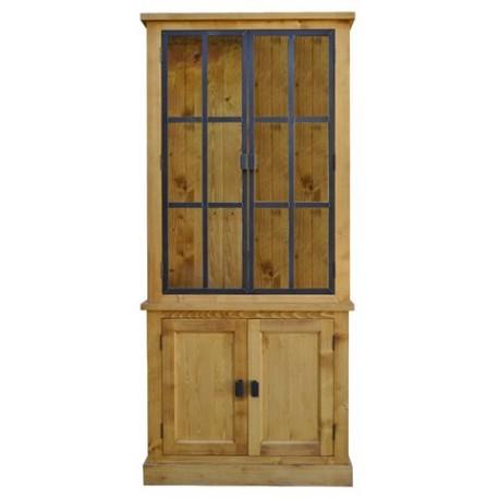 meuble 2 corps 2 portes h 223cm bois et fer