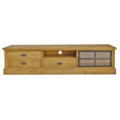 meuble tv 2m 1 porte metal vitree bois et fer