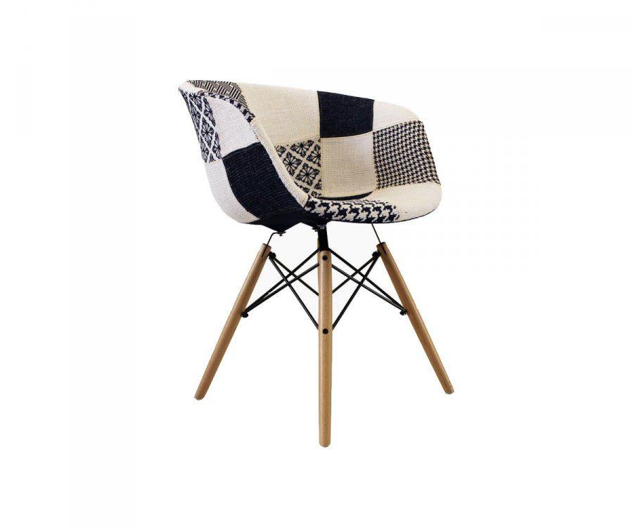 chaise tissu patchwork noir et blanc style scandinave a decouvrir