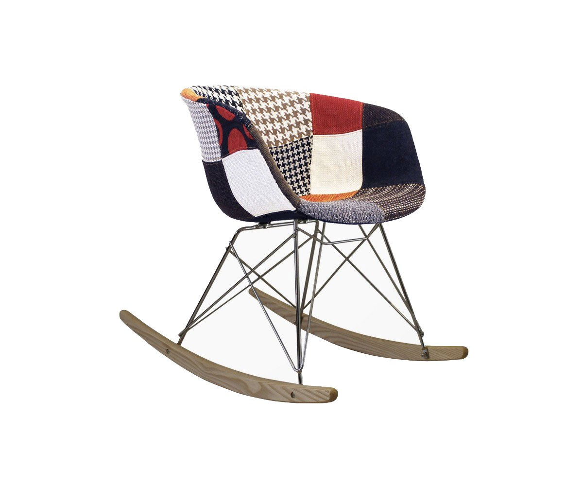 chaise a bascule tissu patchwork scandinave ray