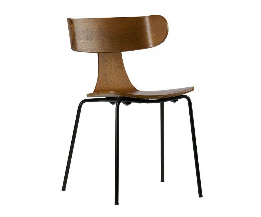 chaise salle a manger retro bois frene et metal noir be pure home