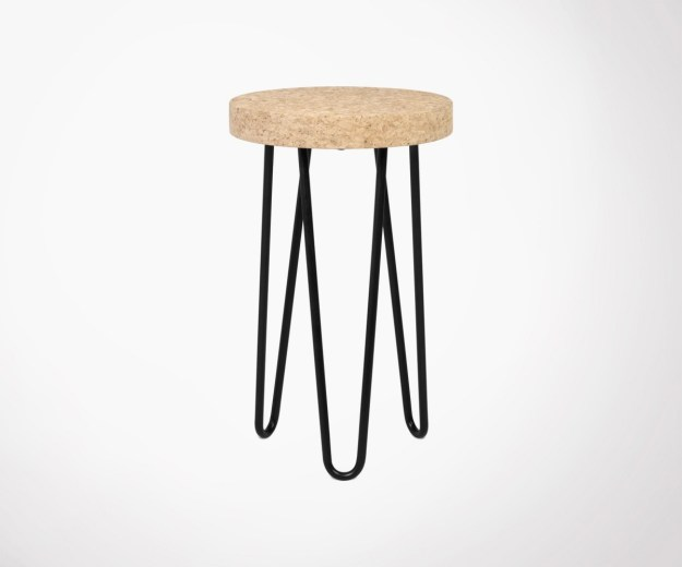 small side table with real natural cork top and metal legstemahome