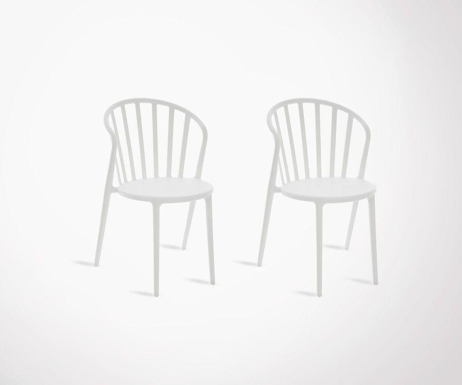 lot 2 chaises design plastiques exterieur ou interieur empilables