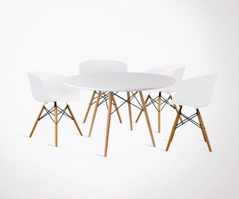 table a manger 120cm dining 4 fauteuils design ray