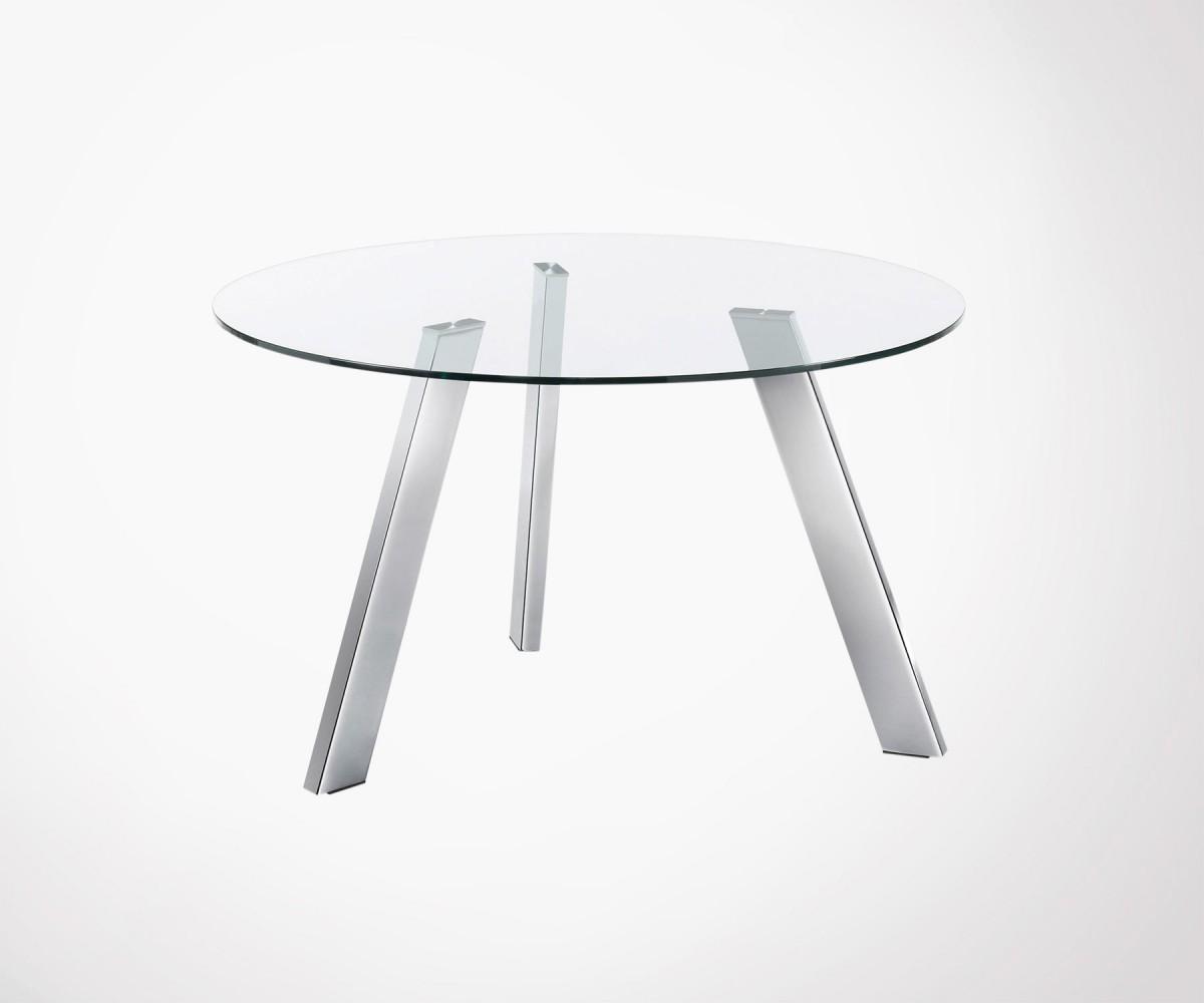 table ronde 130cm plateau verre pied chrome carib