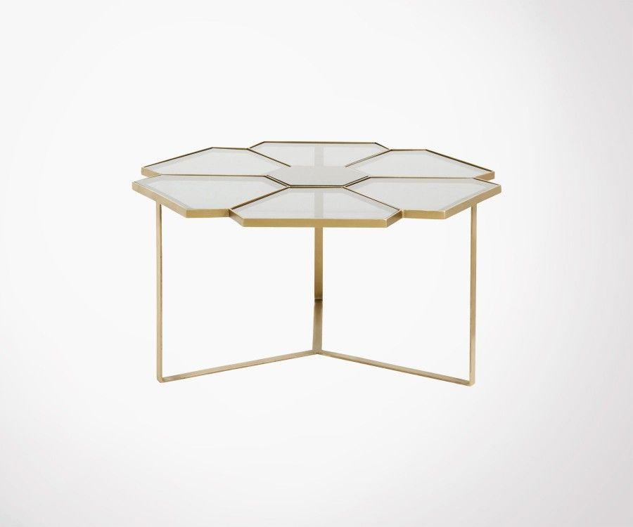 table basse 90cm laiton verre marbre style art deco marque nordal