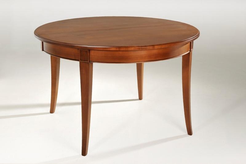 table ronde avec allonges en merisier