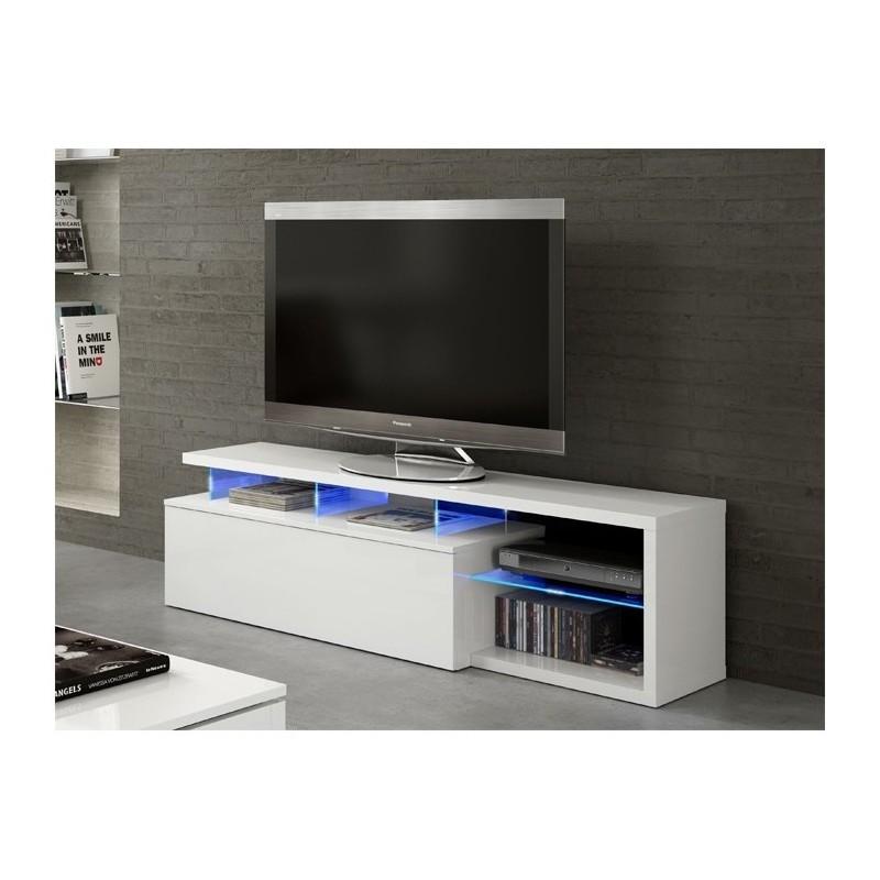 blie meuble tv avec led blanc brillant 150 cm