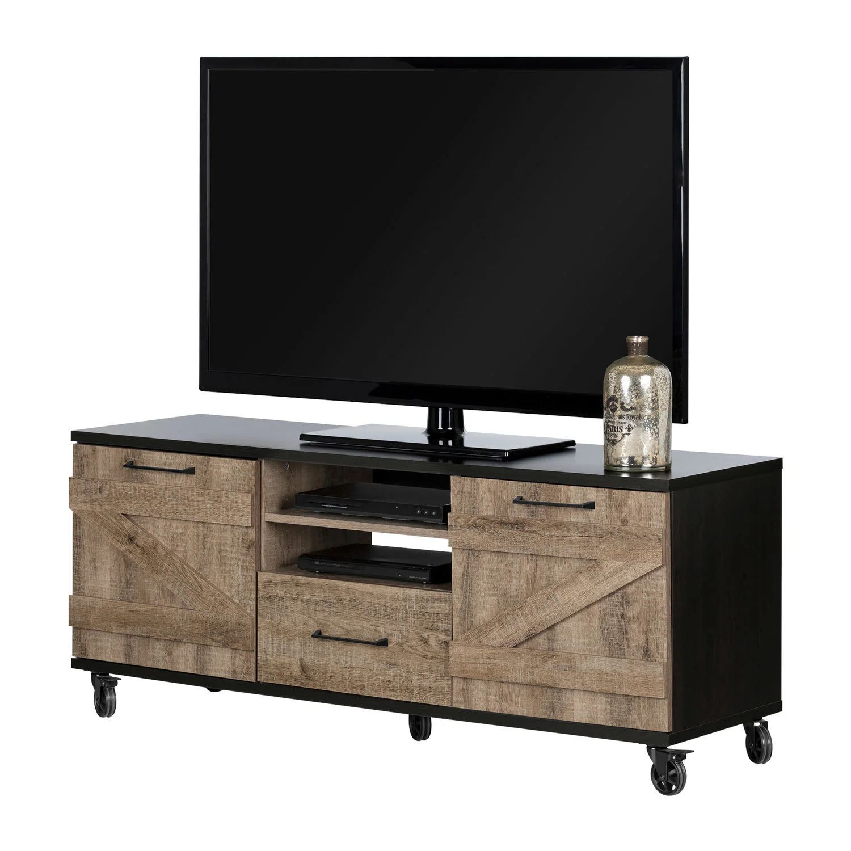 meuble tv industriel sur roulettes