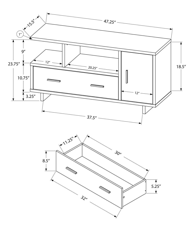 meuble tv 48 l noir faux bois brun rangement