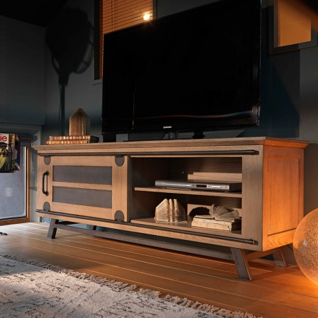 grand meuble tv avec porte coulissante style atelier de chez artcopi