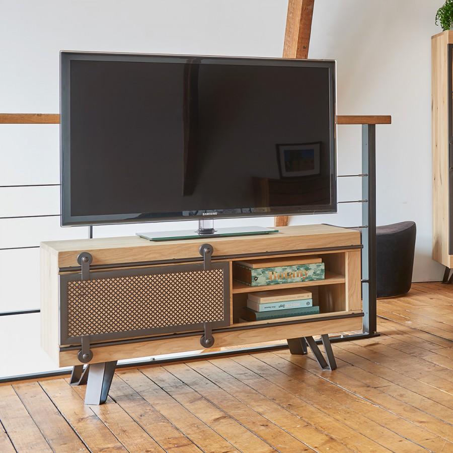petit meuble tv style atelier fusion 1 porte coulissante metal