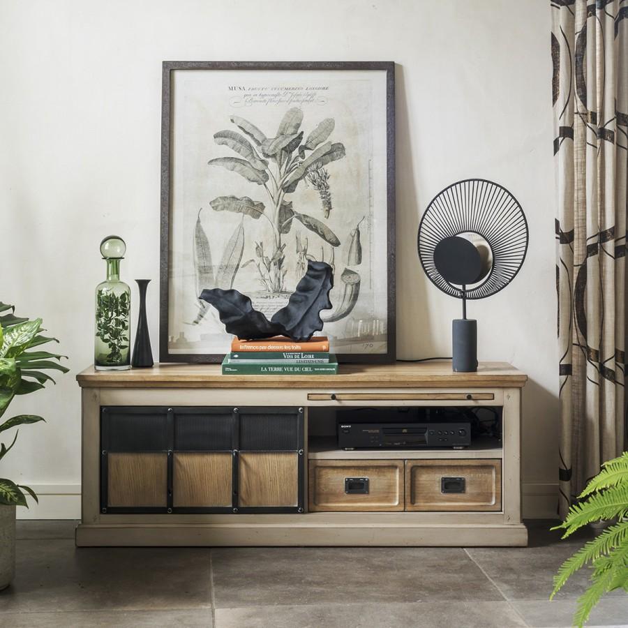 meuble tv 1 porte epure chene et metal style industriel et rustique