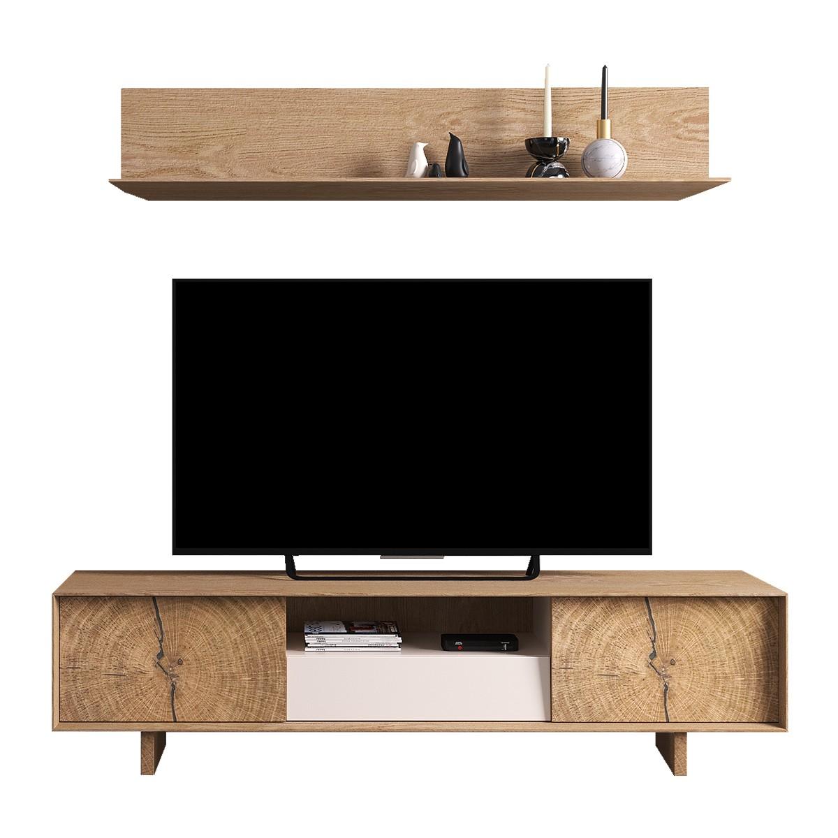 meuble tv bas naura 195 cm chene et laque