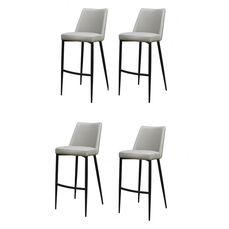 lot 4 chaises de bar grise en simili moon