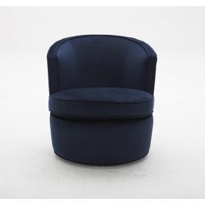 fauteuil en tissu velours bleu marine pivotant sophia