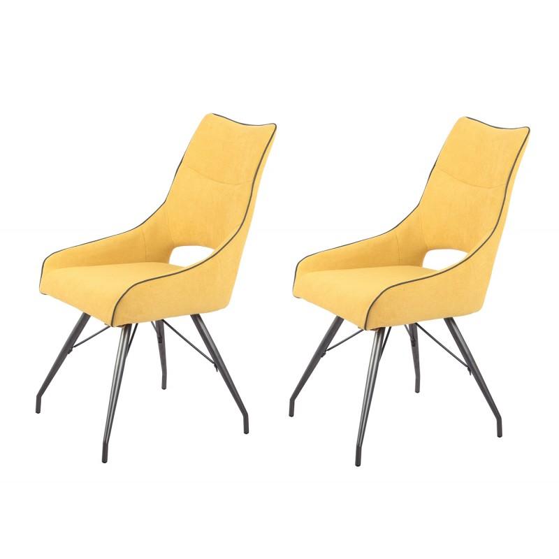 lot de 2 chaises tissu jaune anais