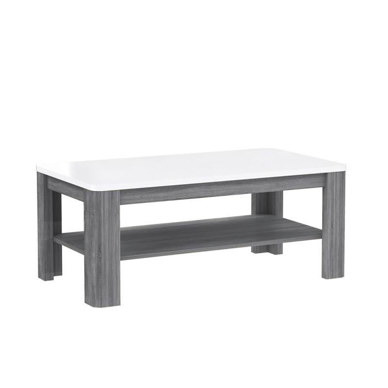 table basse rectangulaire plateau laque blanc et pietement bois gri